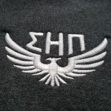 Sigma Eta Pi embroidery on sweatshirts. We added the definition on the wing for a cool 3D effect.